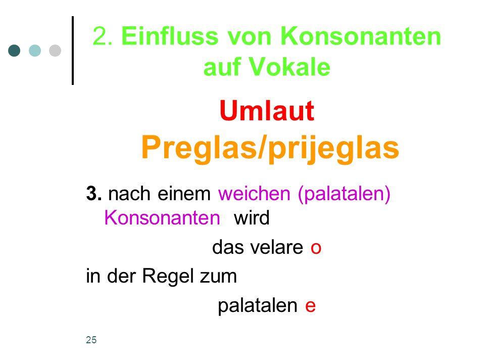 25 2. Einfluss von Konsonanten auf Vokale 3.