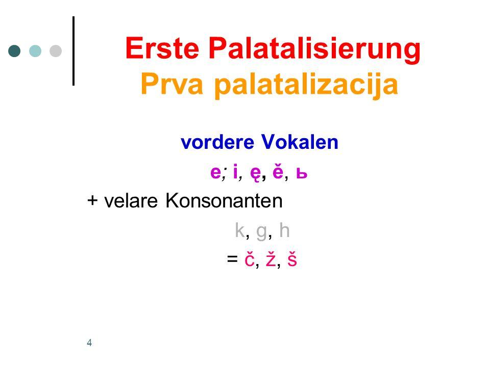 4 Erste Palatalisierung Prva palatalizacija vordere Vokalen e; i, ę, ě, ь + velare Konsonanten k, g, h = č, ž, š