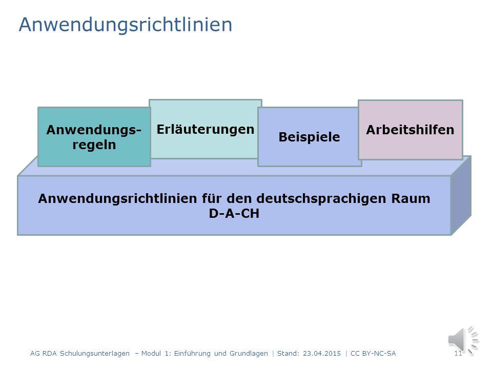 Auszug aus dem Standardelemente-Set für Titeldaten 10 AG RDA Schulungsunterlagen – Modul 1: Einführung und Grundlagen | Stand: 23.04.2015 | CC BY-NC-S