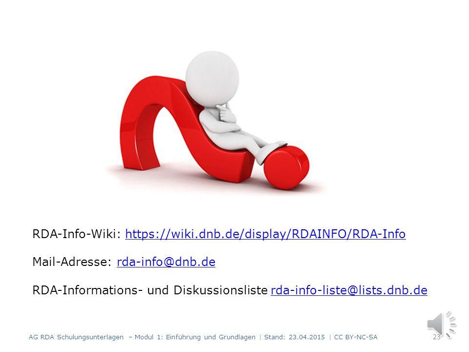 Was wurde bis hierher behandelt? 22 AG RDA Schulungsunterlagen – Modul 1: Einführung und Grundlagen | Stand: 23.04.2015 | CC BY-NC-SA RDA Terminologie