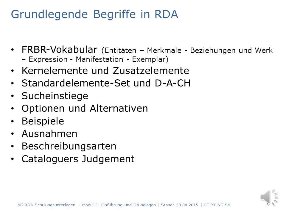Einführung und Grundlagen Teil 4 Modul 1 5 AG RDA Schulungsunterlagen – Modul 1: Einführung und Grundlagen | Stand: 23.04.2015 | CC BY-NC-SA Grundbegr