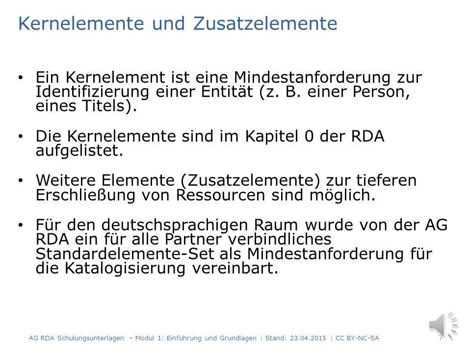 Grundlegende Begriffe in RDA FRBR-Vokabular (Entitäten – Merkmale - Beziehungen und Werk – Expression - Manifestation - Exemplar) Kernelemente und Zus