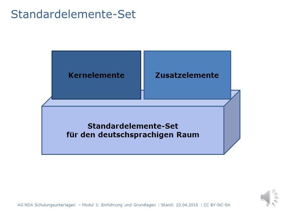 Kernelemente und Zusatzelemente Ein Kernelement ist eine Mindestanforderung zur Identifizierung einer Entität (z. B. einer Person, eines Titels). Die