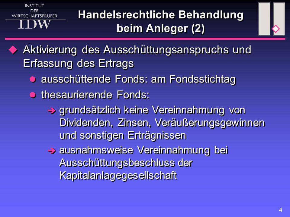 4 Handelsrechtliche Behandlung beim Anleger (2)  Aktivierung des Ausschüttungsanspruchs und Erfassung des Ertrags ausschüttende Fonds: am Fondssticht
