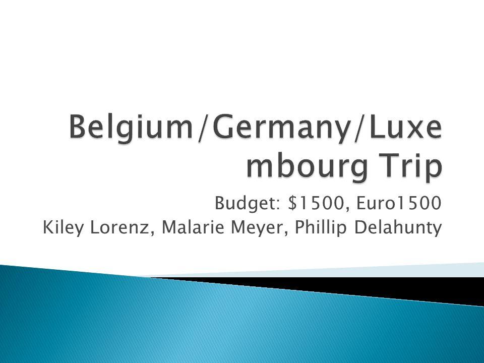 Budget: $1500, Euro1500 Kiley Lorenz, Malarie Meyer, Phillip Delahunty