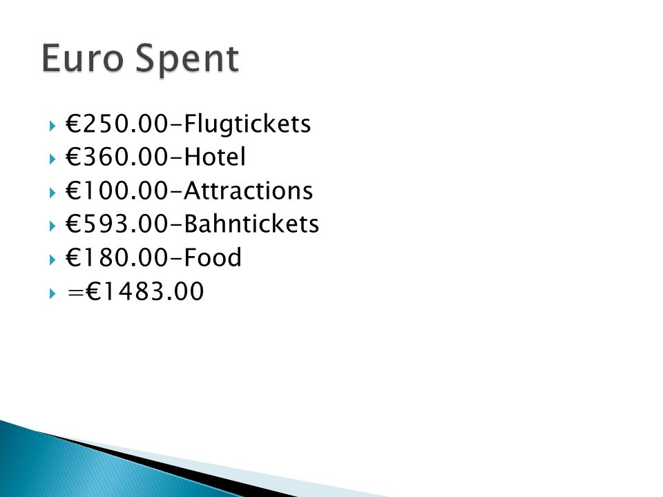  € Flugtickets  € Hotel  € Attractions  € Bahntickets  € Food  =€