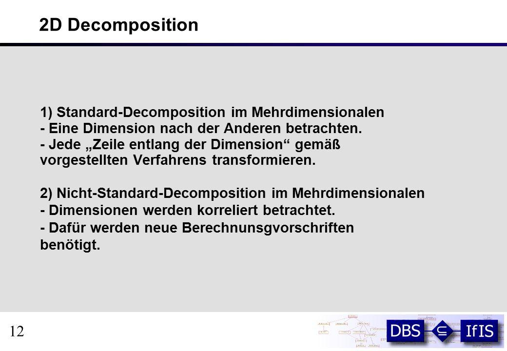 2D Decomposition 1) Standard-Decomposition im Mehrdimensionalen - Eine Dimension nach der Anderen betrachten.