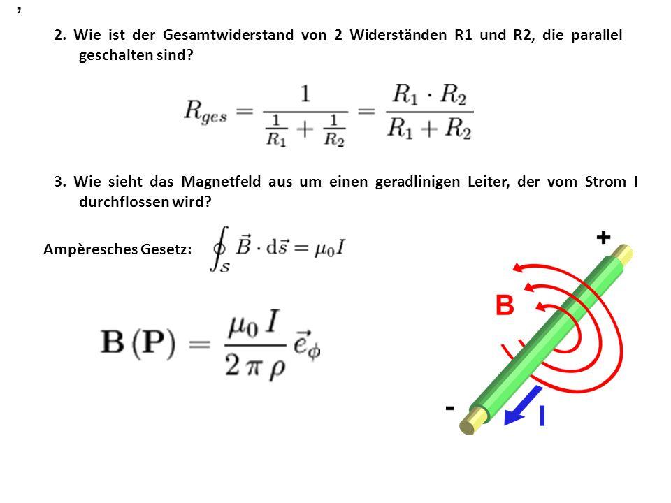 2.Wie ist der Gesamtwiderstand von 2 Widerständen R1 und R2, die parallel geschalten sind.