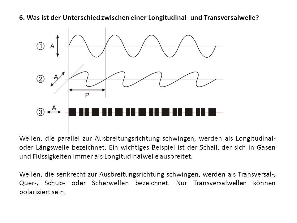 6.Was ist der Unterschied zwischen einer Longitudinal- und Transversalwelle.