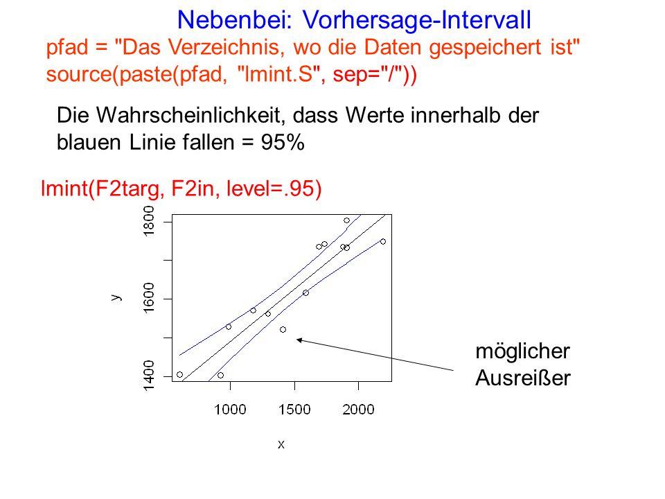 Nebenbei: Vorhersage-Intervall lmint(F2targ, F2in, level=.95) Die Wahrscheinlichkeit, dass Werte innerhalb der blauen Linie fallen = 95% pfad =