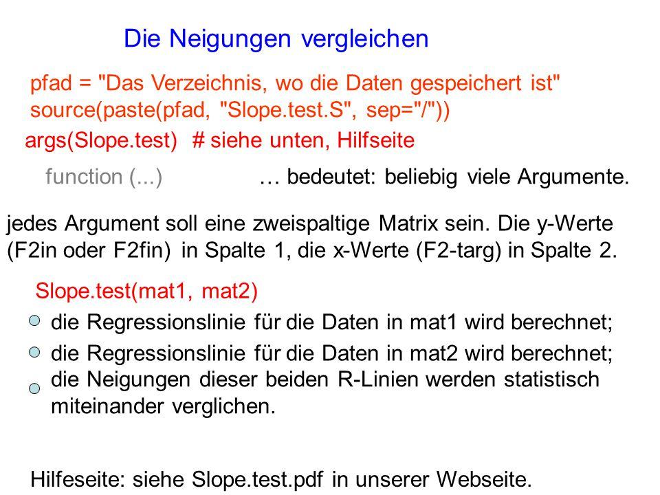 Die Neigungen vergleichen Hilfeseite: siehe Slope.test.pdf in unserer Webseite. pfad =