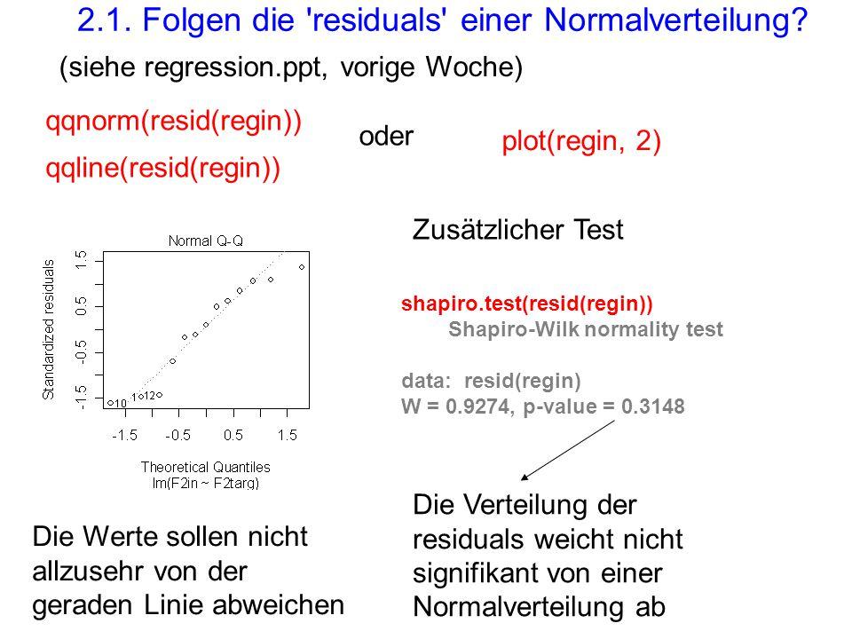 qqnorm(resid(regin)) qqline(resid(regin)) plot(regin, 2) 2.1. Folgen die 'residuals' einer Normalverteilung? oder (siehe regression.ppt, vorige Woche)