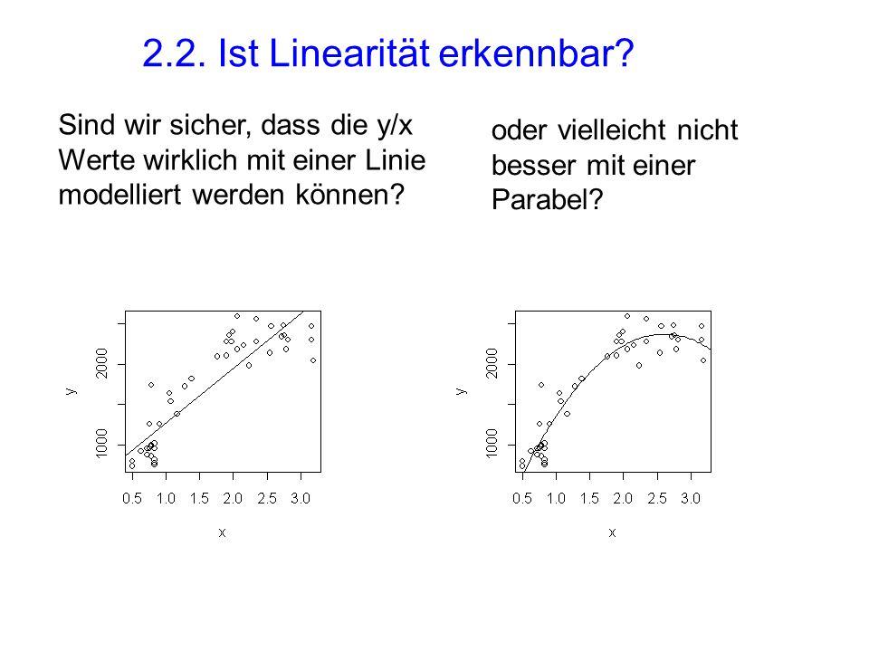 2.2. Ist Linearität erkennbar? Sind wir sicher, dass die y/x Werte wirklich mit einer Linie modelliert werden können? oder vielleicht nicht besser mit