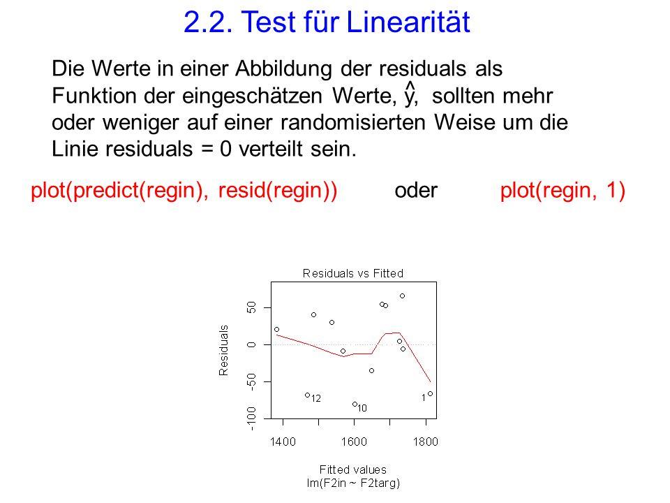 oderplot(predict(regin), resid(regin))plot(regin, 1) Die Werte in einer Abbildung der residuals als Funktion der eingeschätzen Werte, y, sollten mehr