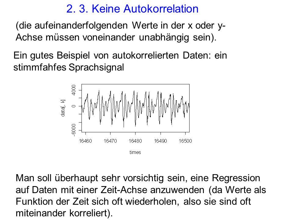 2. 3. Keine Autokorrelation (die aufeinanderfolgenden Werte in der x oder y- Achse müssen voneinander unabhängig sein). Ein gutes Beispiel von autokor