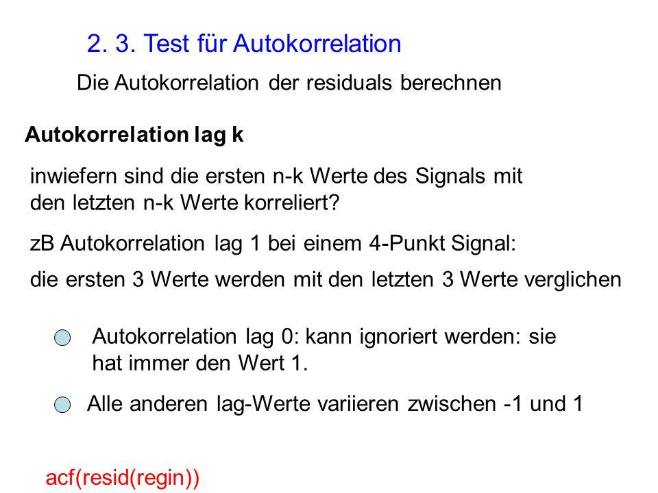 2. 3. Test für Autokorrelation Die Autokorrelation der residuals berechnen acf(resid(regin)) Autokorrelation lag k inwiefern sind die ersten n-k Werte