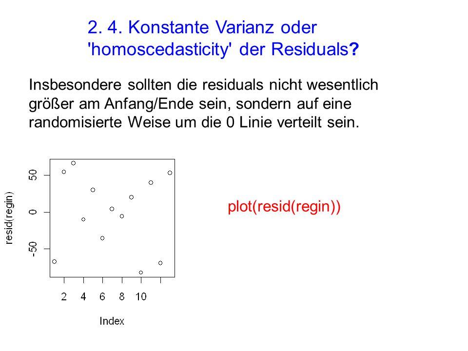 2. 4. Konstante Varianz oder 'homoscedasticity' der Residuals? Insbesondere sollten die residuals nicht wesentlich größer am Anfang/Ende sein, sondern