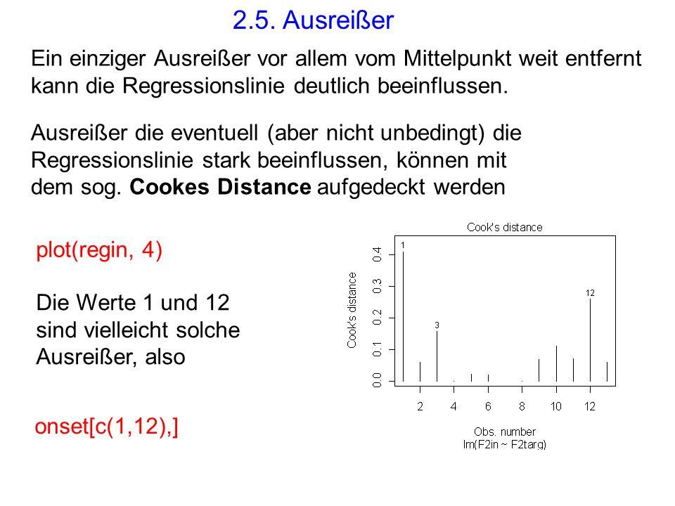 2.5. Ausreißer Ein einziger Ausreißer vor allem vom Mittelpunkt weit entfernt kann die Regressionslinie deutlich beeinflussen. Ausreißer die eventuell