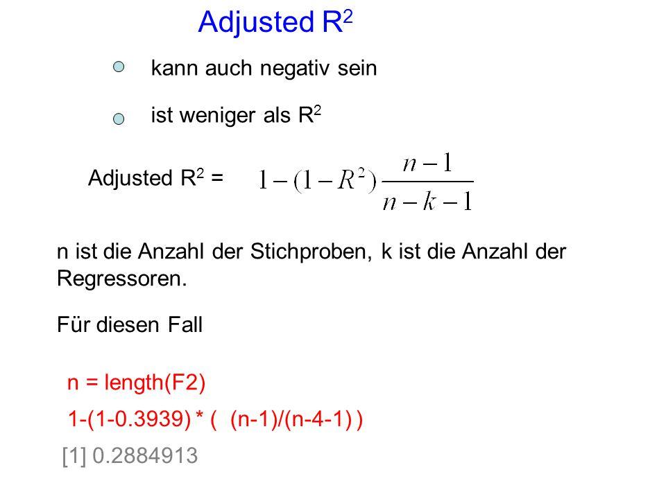 Adjusted R 2 Adjusted R 2 = n ist die Anzahl der Stichproben, k ist die Anzahl der Regressoren. 1-(1-0.3939) * ( (n-1)/(n-4-1) ) n = length(F2) [1] 0.