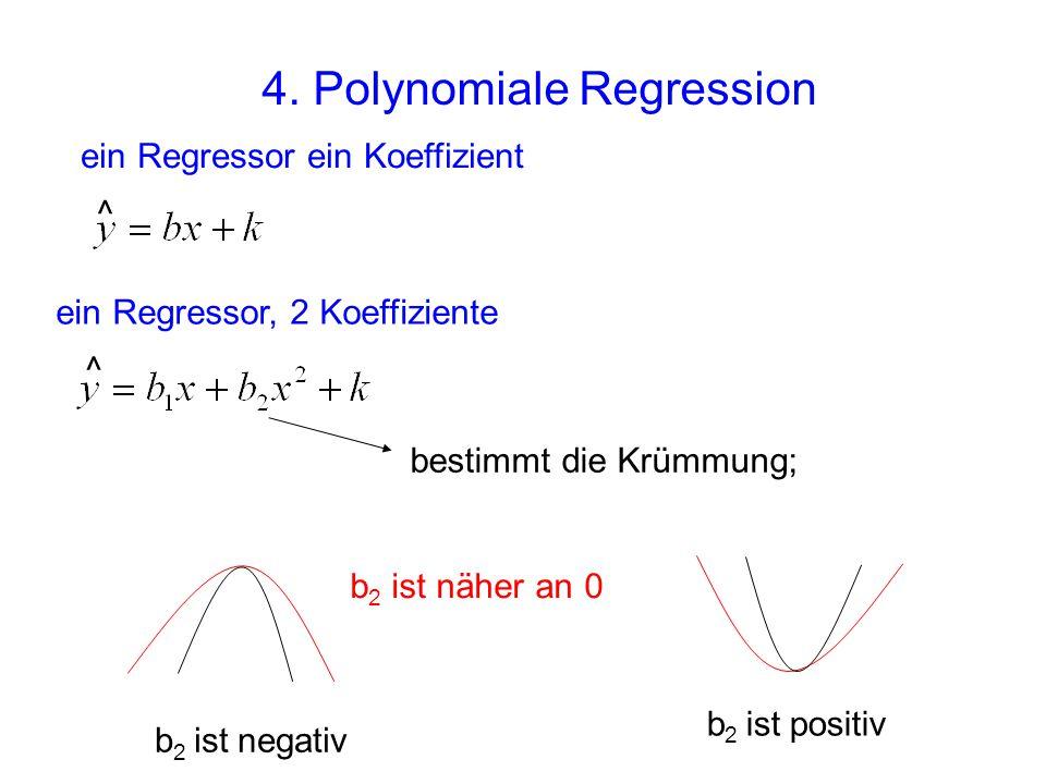 4. Polynomiale Regression ^ ein Regressor, 2 Koeffiziente ^ ein Regressor ein Koeffizient bestimmt die Krümmung; b 2 ist negativ b 2 ist positiv b 2 i
