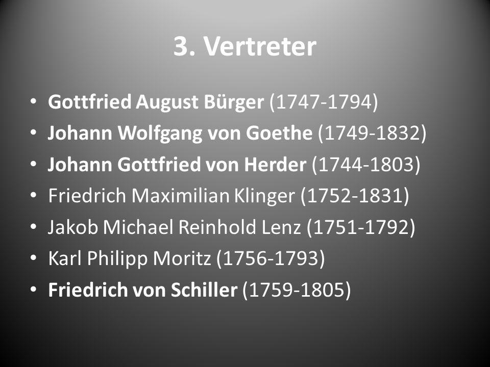 3. Vertreter Gottfried August Bürger (1747-1794) Johann Wolfgang von Goethe (1749-1832) Johann Gottfried von Herder (1744-1803) Friedrich Maximilian K