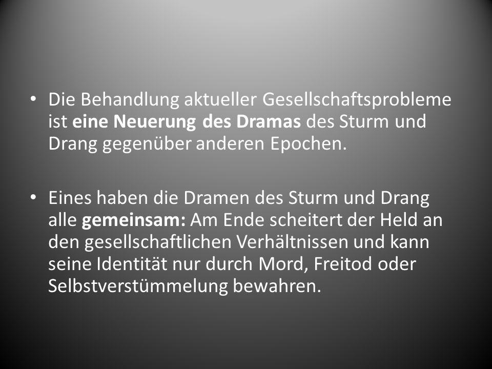 Wichtige Themen der Dramen im Sturm und Drang waren: Freiheitskampf gegen die Gesellschaft (z.