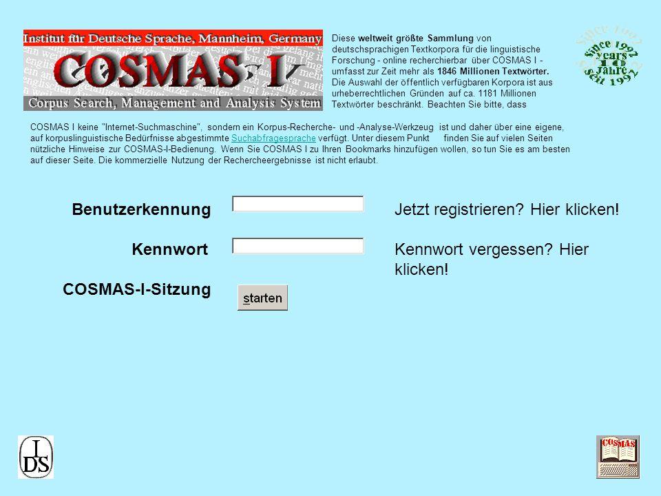 Diese weltweit größte Sammlung von deutschsprachigen Textkorpora für die linguistische Forschung - online recherchierbar über COSMAS I - umfasst zur Zeit mehr als 1846 Millionen Textwörter.