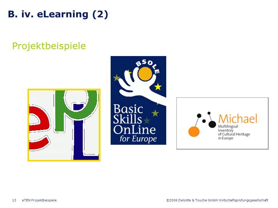 ©2006 Deloitte & Touche GmbH Wirtschaftsprüfungsgesellschaft eTEN Projektbeispiele13 B. iv. eLearning (2) Projektbeispiele