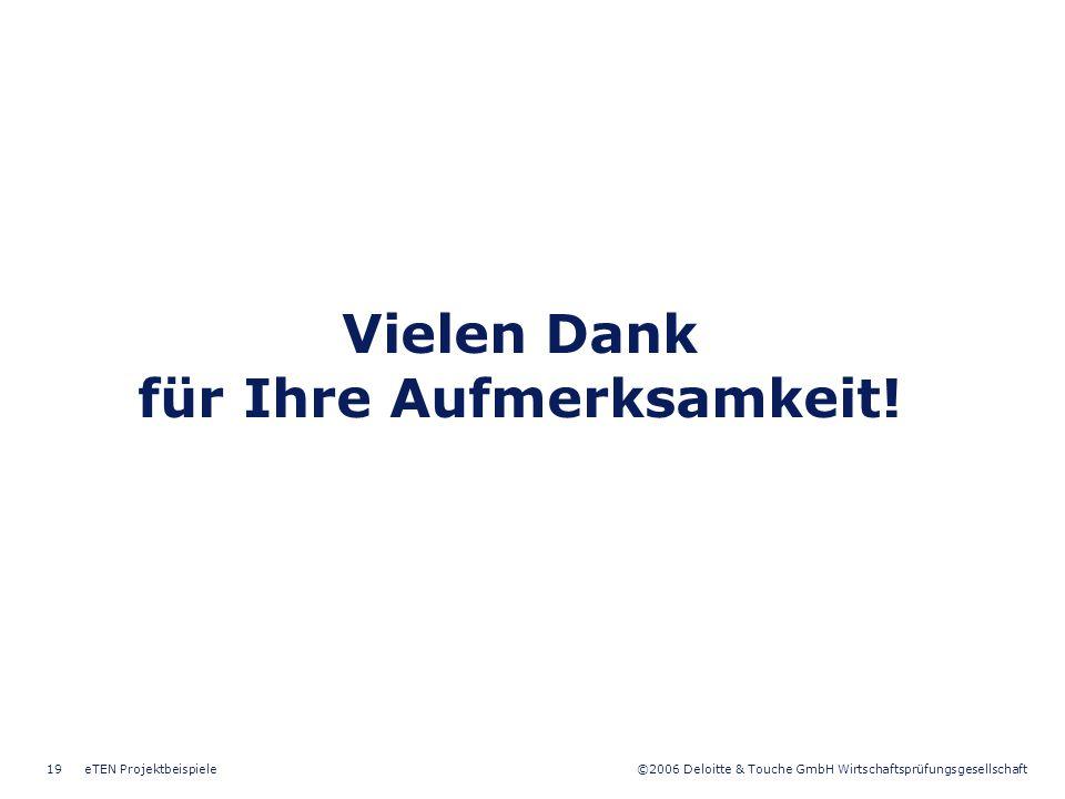 ©2006 Deloitte & Touche GmbH Wirtschaftsprüfungsgesellschaft eTEN Projektbeispiele19 Vielen Dank für Ihre Aufmerksamkeit!