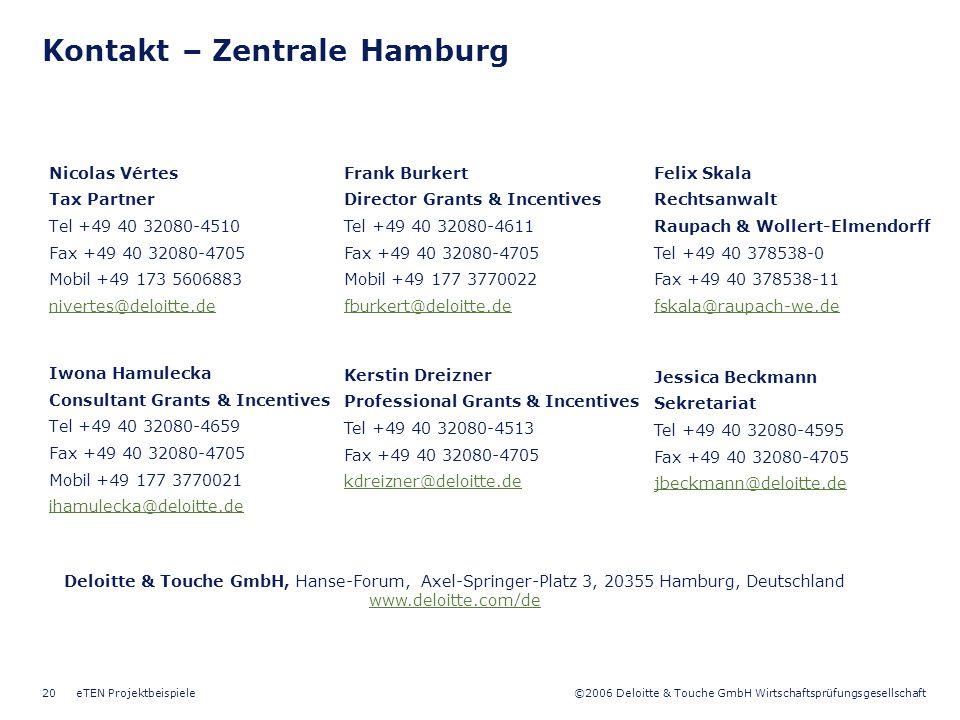 ©2006 Deloitte & Touche GmbH Wirtschaftsprüfungsgesellschaft eTEN Projektbeispiele20 Kontakt – Zentrale Hamburg Nicolas Vértes Tax Partner Tel +49 40 32080-4510 Fax +49 40 32080-4705 Mobil +49 173 5606883 nivertes@deloitte.de Iwona Hamulecka Consultant Grants & Incentives Tel +49 40 32080-4659 Fax +49 40 32080-4705 Mobil +49 177 3770021 ihamulecka@deloitte.de Kerstin Dreizner Professional Grants & Incentives Tel +49 40 32080-4513 Fax +49 40 32080-4705 kdreizner@deloitte.de Frank Burkert Director Grants & Incentives Tel +49 40 32080-4611 Fax +49 40 32080-4705 Mobil +49 177 3770022 fburkert@deloitte.de Deloitte & Touche GmbH, Hanse-Forum, Axel-Springer-Platz 3, 20355 Hamburg, Deutschland www.deloitte.com/de Felix Skala Rechtsanwalt Raupach & Wollert-Elmendorff Tel +49 40 378538-0 Fax +49 40 378538-11 fskala@raupach-we.de Jessica Beckmann Sekretariat Tel +49 40 32080-4595 Fax +49 40 32080-4705 jbeckmann@deloitte.de