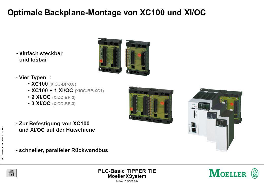 Schutzvermerk nach DIN 34 beachten 17/07/15 Seite 147 PLC-Basic TIPPER TIE - Zur Befestigung von XC100 und XI/OC auf der Hutschiene - schneller, paralleler Rückwandbus - Vier Typen : XC100 (XIOC-BP-XC) XC100 + 1 XI/OC (XIOC-BP-XC1) 2 XI/OC (XIOC-BP-2) 3 XI/OC (XIOC-BP-3) - einfach steckbar und lösbar Optimale Backplane-Montage von XC100 und XI/OC Moeller XSystem
