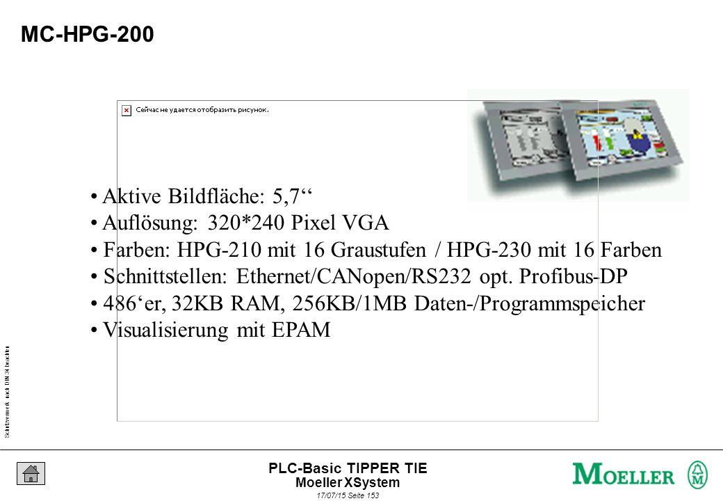 Schutzvermerk nach DIN 34 beachten 17/07/15 Seite 153 PLC-Basic TIPPER TIE MC-HPG-200 Aktive Bildfläche: 5,7'' Auflösung: 320*240 Pixel VGA Farben: HPG-210 mit 16 Graustufen / HPG-230 mit 16 Farben Schnittstellen: Ethernet/CANopen/RS232 opt.