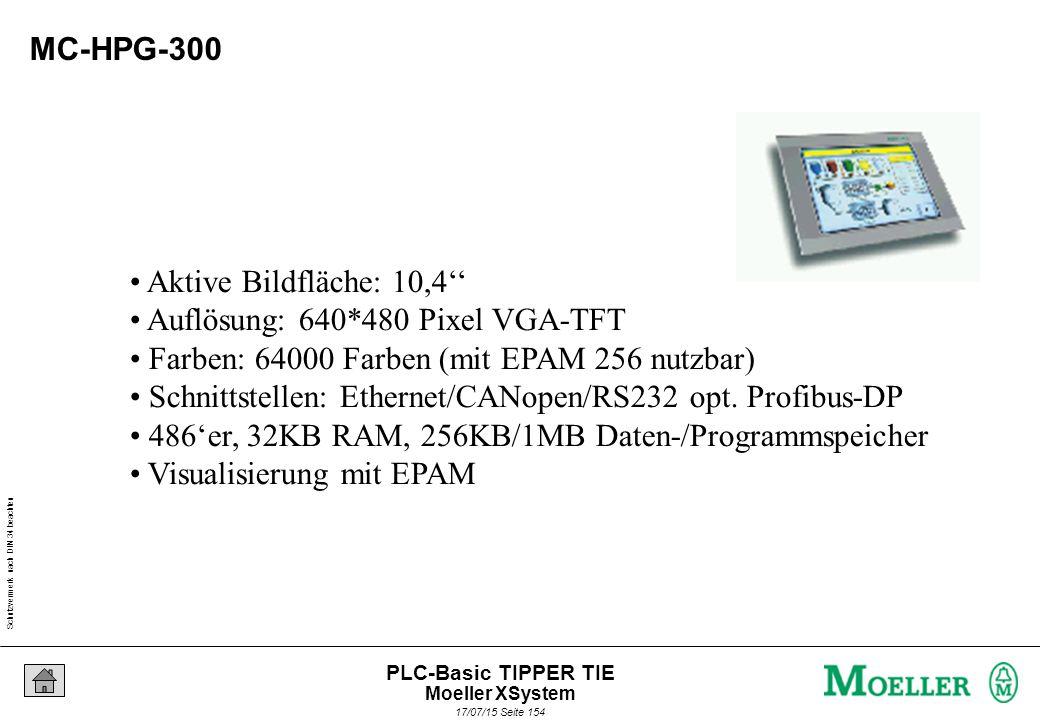 Schutzvermerk nach DIN 34 beachten 17/07/15 Seite 154 PLC-Basic TIPPER TIE MC-HPG-300 Aktive Bildfläche: 10,4'' Auflösung: 640*480 Pixel VGA-TFT Farben: 64000 Farben (mit EPAM 256 nutzbar) Schnittstellen: Ethernet/CANopen/RS232 opt.