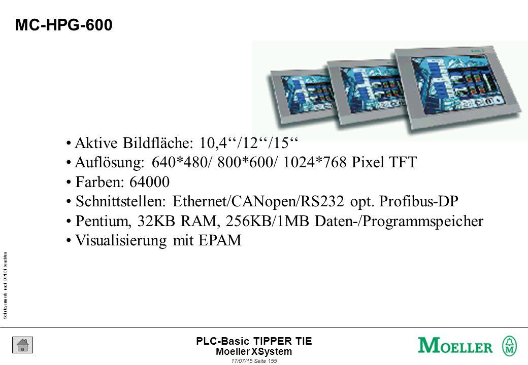 Schutzvermerk nach DIN 34 beachten 17/07/15 Seite 155 PLC-Basic TIPPER TIE MC-HPG-600 Aktive Bildfläche: 10,4''/12''/15'' Auflösung: 640*480/ 800*600/ 1024*768 Pixel TFT Farben: 64000 Schnittstellen: Ethernet/CANopen/RS232 opt.