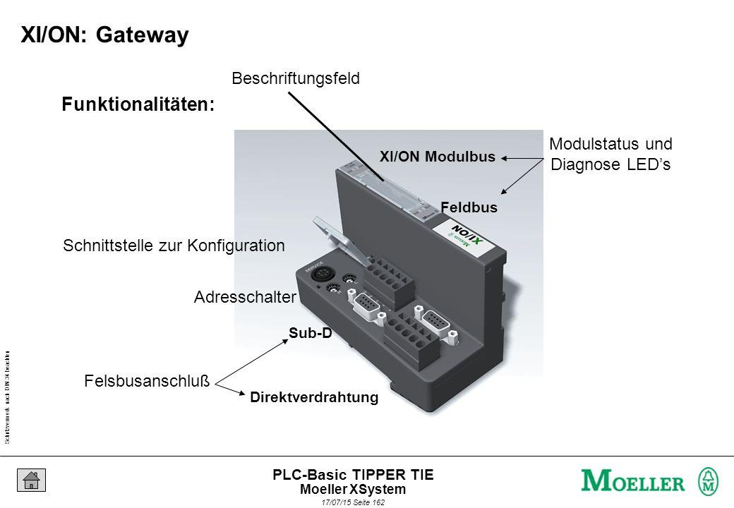 Schutzvermerk nach DIN 34 beachten 17/07/15 Seite 162 PLC-Basic TIPPER TIE Funktionalitäten: Felsbusanschluß Adresschalter Schnittstelle zur Konfiguration Modulstatus und Diagnose LED's Beschriftungsfeld XI/ON Modulbus Feldbus Sub-D Direktverdrahtung XI/ON: Gateway Moeller XSystem