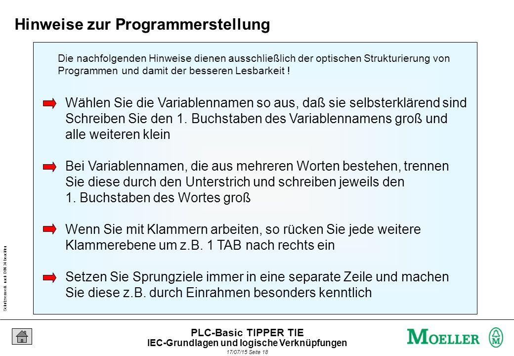 Schutzvermerk nach DIN 34 beachten 17/07/15 Seite 18 PLC-Basic TIPPER TIE Wählen Sie die Variablennamen so aus, daß sie selbsterklärend sind Schreiben Sie den 1.