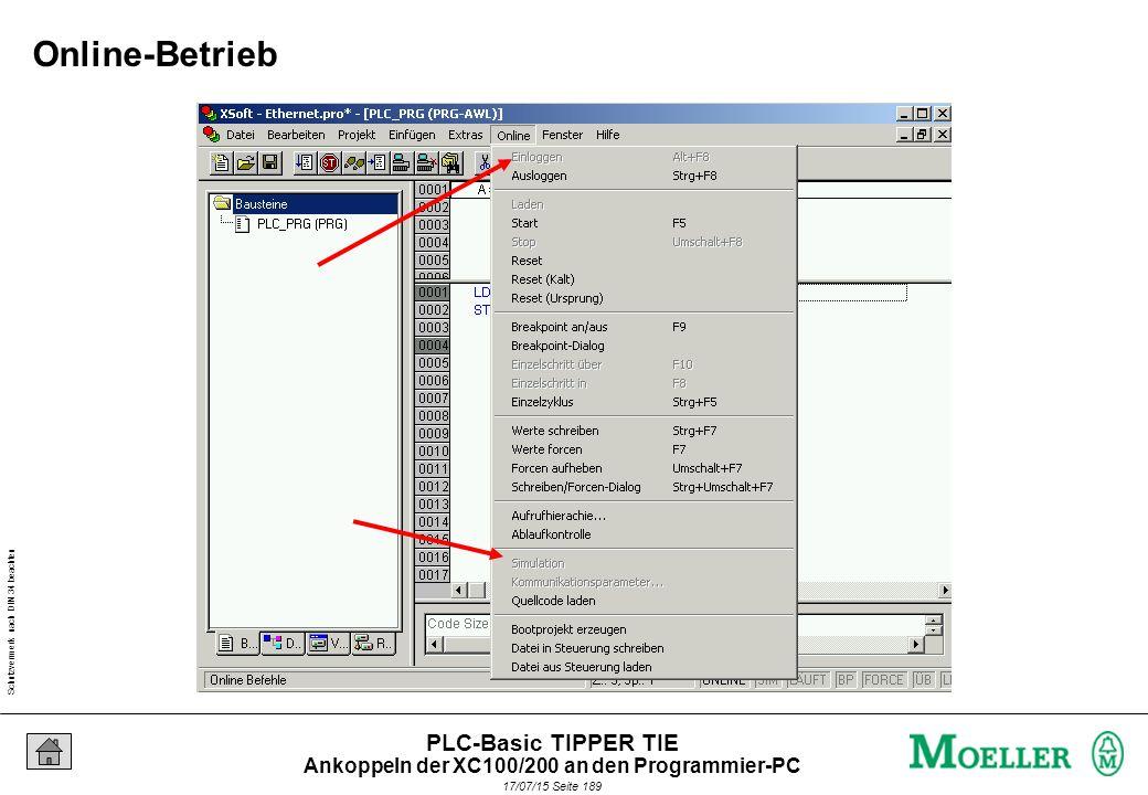 Schutzvermerk nach DIN 34 beachten 17/07/15 Seite 189 PLC-Basic TIPPER TIE Online-Betrieb Ankoppeln der XC100/200 an den Programmier-PC