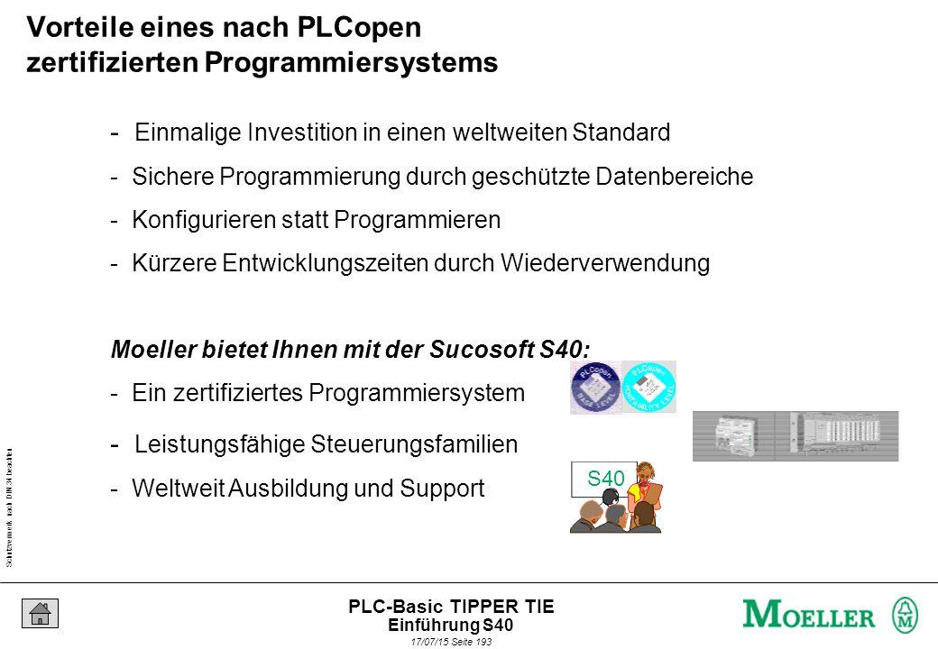 Schutzvermerk nach DIN 34 beachten 17/07/15 Seite 193 PLC-Basic TIPPER TIE - Einmalige Investition in einen weltweiten Standard - Sichere Programmierung durch geschützte Datenbereiche - Konfigurieren statt Programmieren - Kürzere Entwicklungszeiten durch Wiederverwendung Moeller bietet Ihnen mit der Sucosoft S40: - Ein zertifiziertes Programmiersystem - Leistungsfähige Steuerungsfamilien - Weltweit Ausbildung und Support S40 Vorteile eines nach PLCopen zertifizierten Programmiersystems Einführung S40