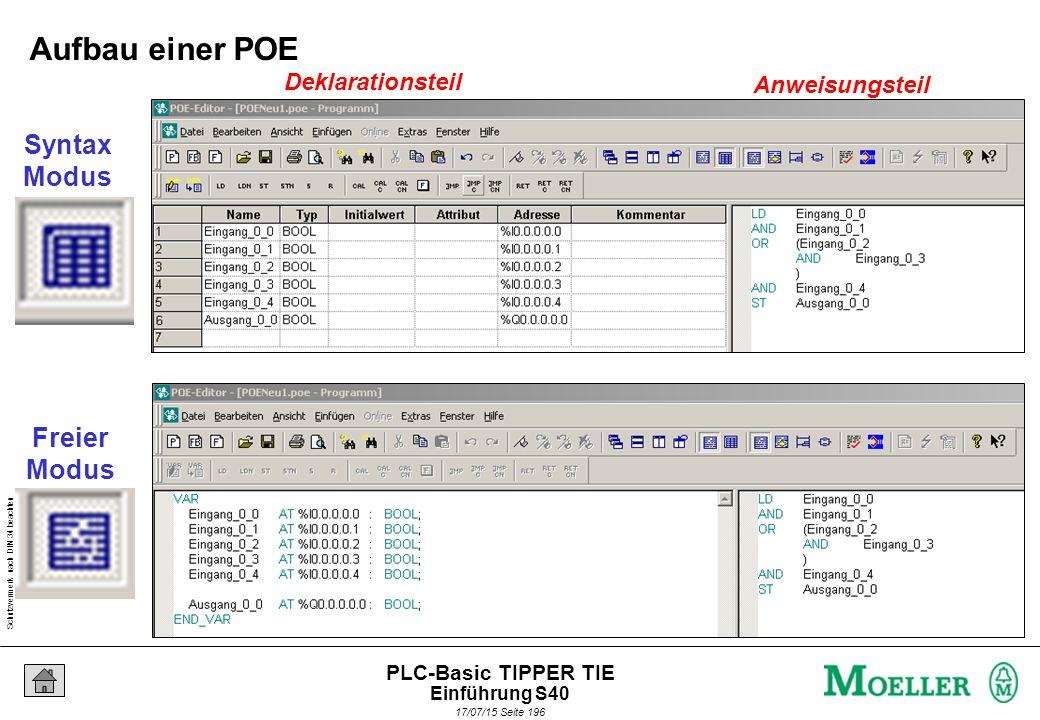 Schutzvermerk nach DIN 34 beachten 17/07/15 Seite 196 PLC-Basic TIPPER TIE Deklarationsteil Anweisungsteil Syntax Modus Freier Modus Aufbau einer POE Einführung S40