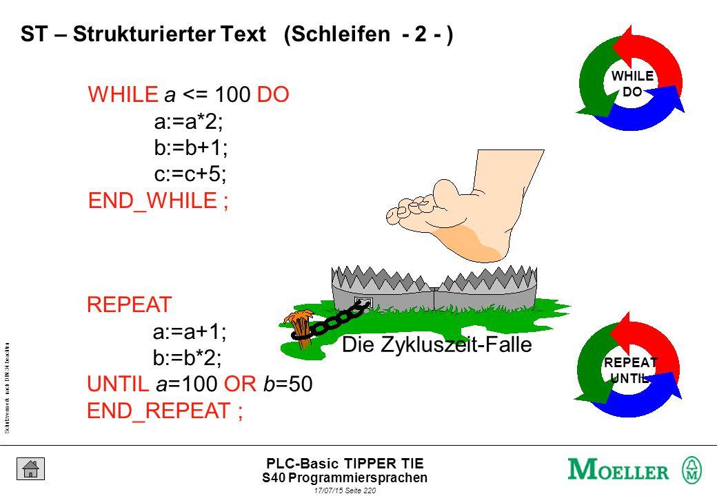 Schutzvermerk nach DIN 34 beachten 17/07/15 Seite 220 PLC-Basic TIPPER TIE WHILE a <= 100 DO a:=a*2; b:=b+1; c:=c+5; END_WHILE ; WHILE DO REPEAT a:=a+1; b:=b*2; UNTIL a=100 OR b=50 END_REPEAT ; REPEAT UNTIL Die Zykluszeit-Falle ST – Strukturierter Text (Schleifen - 2 - ) S40 Programmiersprachen
