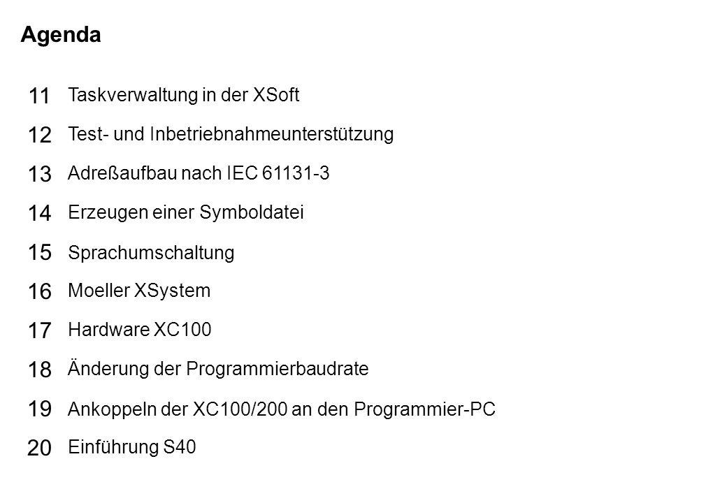 Schutzvermerk nach DIN 34 beachten 17/07/15 Seite 3 PLC-Basic TIPPER TIE Agenda 15 16 17 18 19 20 11 12 13 14 Taskverwaltung in der XSoft Test- und Inbetriebnahmeunterstützung Adreßaufbau nach IEC 61131-3 Erzeugen einer Symboldatei Sprachumschaltung Moeller XSystem Hardware XC100 Änderung der Programmierbaudrate Ankoppeln der XC100/200 an den Programmier-PC Einführung S40