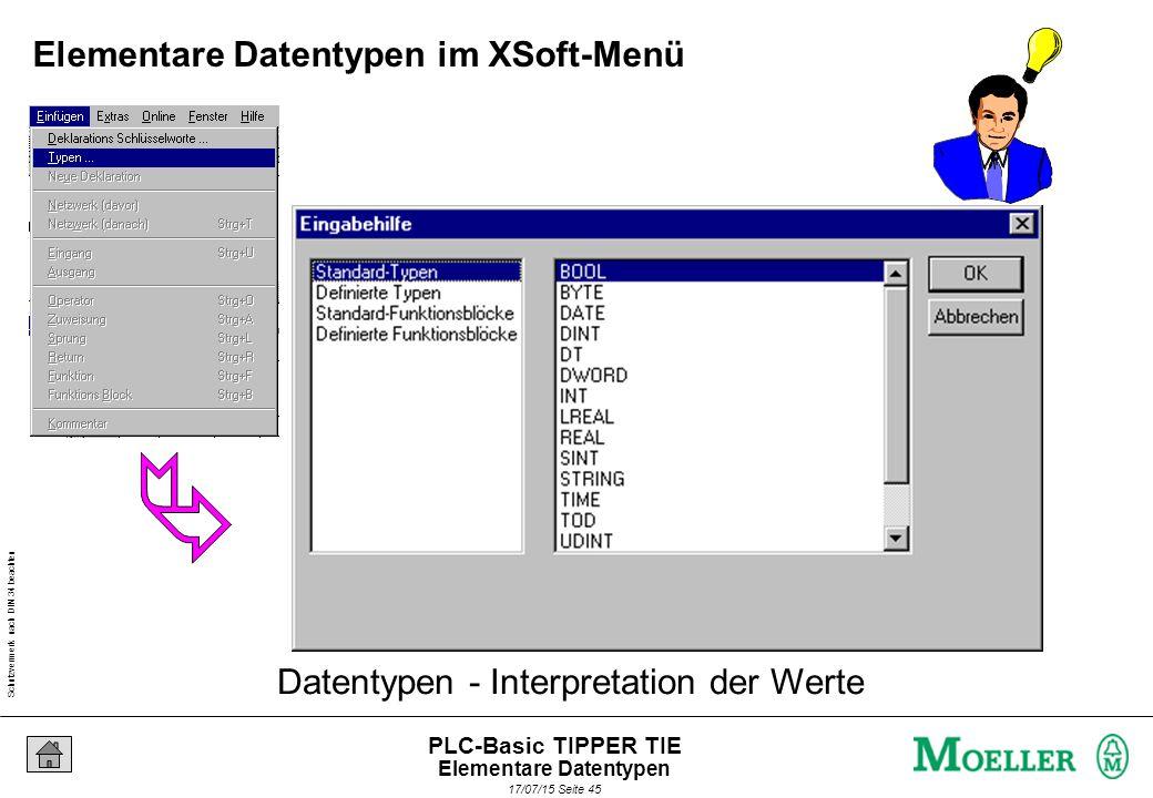 Schutzvermerk nach DIN 34 beachten 17/07/15 Seite 45 PLC-Basic TIPPER TIE Datentypen - Interpretation der Werte Elementare Datentypen im XSoft-Menü Elementare Datentypen
