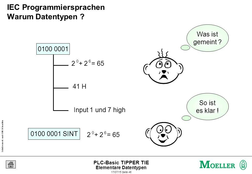 Schutzvermerk nach DIN 34 beachten 17/07/15 Seite 46 PLC-Basic TIPPER TIE 0100 0001 0100 0001 SINT 41 H Input 1 und 7 high 2 + 2 = 65 06 06 So ist es klar .
