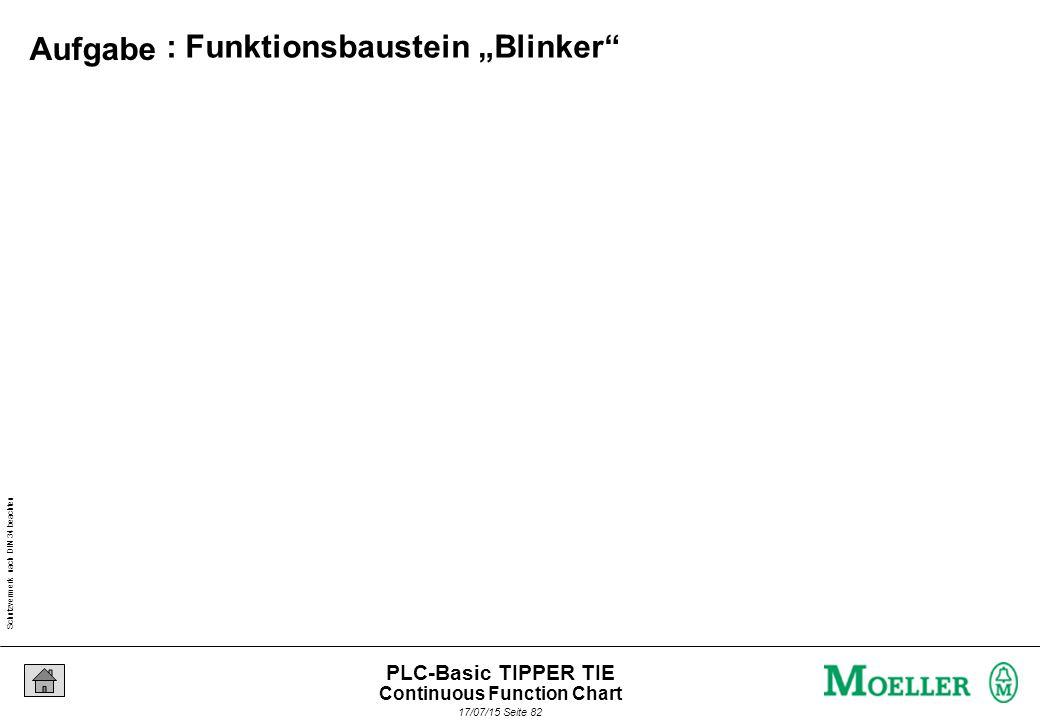 """Schutzvermerk nach DIN 34 beachten 17/07/15 Seite 82 PLC-Basic TIPPER TIE : Funktionsbaustein """"Blinker Aufgabe Continuous Function Chart"""