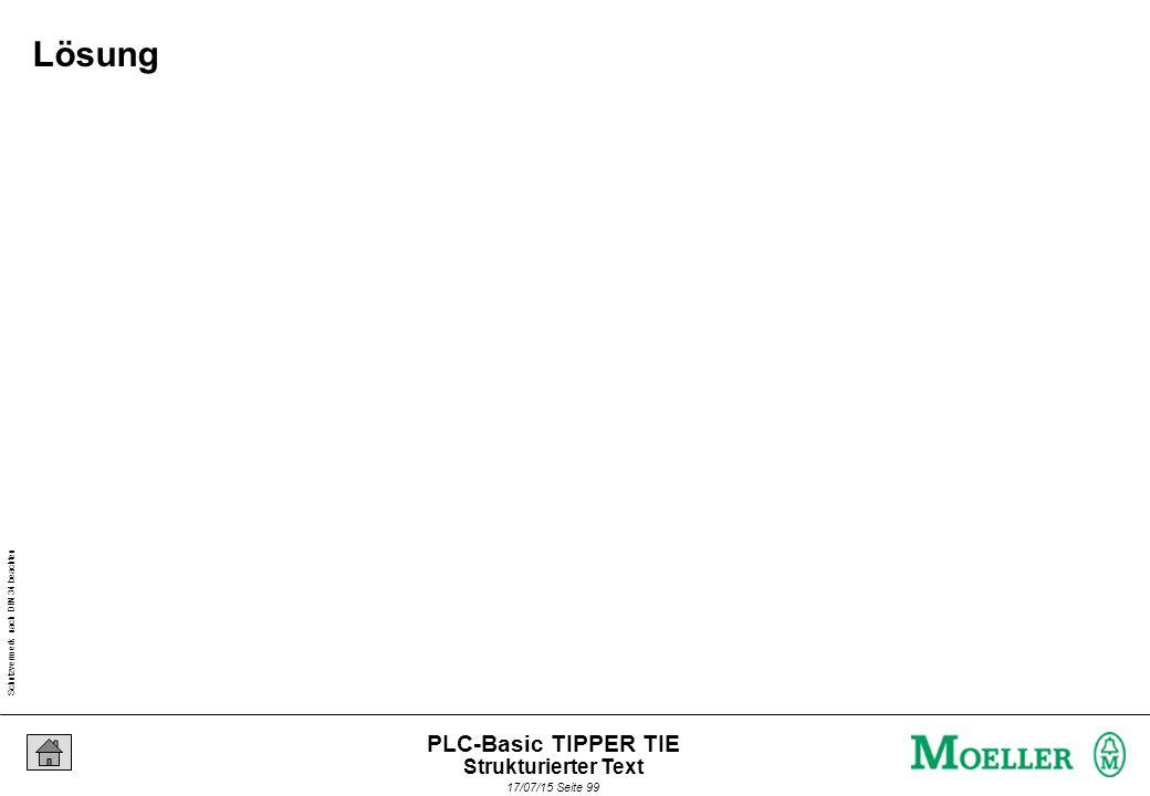 Schutzvermerk nach DIN 34 beachten 17/07/15 Seite 99 PLC-Basic TIPPER TIE Lösung Strukturierter Text