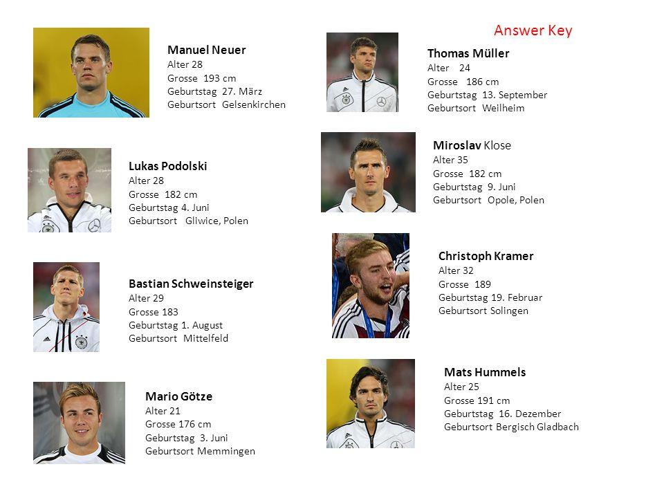 Manuel Neuer Alter 28 Grosse 193 cm Geburtstag 27. März Geburtsort Gelsenkirchen Lukas Podolski Alter 28 Grosse 182 cm Geburtstag 4. Juni Geburtsort G