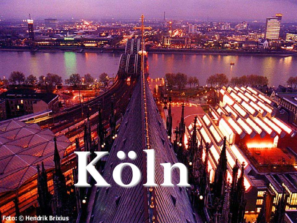 Der Ort Köln liegt in zentral-west Deutschland, in dem Bundesland Nordrhein- WestfalenKöln liegt in zentral-west Deutschland, in dem Bundesland Nordrhein- Westfalen Die Stadt befindet sich am RheinDie Stadt befindet sich am Rhein Köln liegt südlich von Düsseldorf, und nordwestlich von BonnKöln liegt südlich von Düsseldorf, und nordwestlich von Bonn