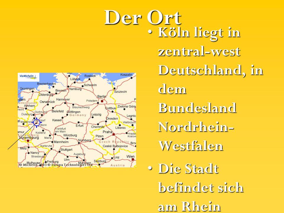 Der Ort Köln liegt in zentral-west Deutschland, in dem Bundesland Nordrhein- WestfalenKöln liegt in zentral-west Deutschland, in dem Bundesland Nordrh