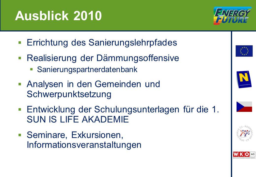 Ausblick 2010  Errichtung des Sanierungslehrpfades  Realisierung der Dämmungsoffensive  Sanierungspartnerdatenbank  Analysen in den Gemeinden und Schwerpunktsetzung  Entwicklung der Schulungsunterlagen für die 1.