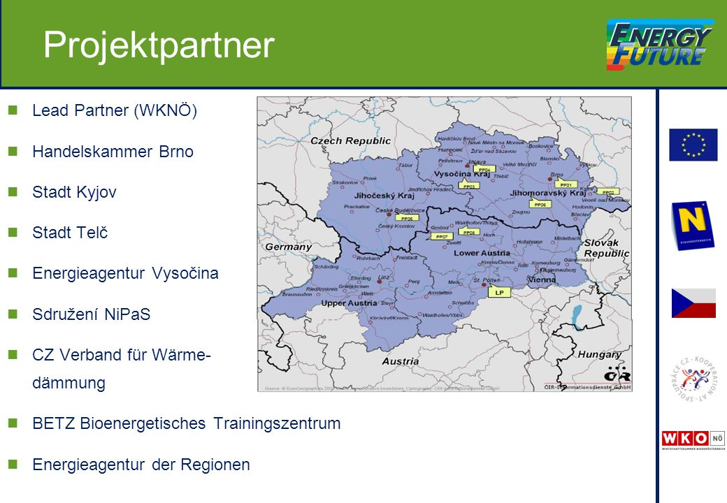 Lead Partner (WKNÖ) Handelskammer Brno Stadt Kyjov Stadt Telč Energieagentur Vysočina Sdružení NiPaS CZ Verband für Wärme- dämmung BETZ Bioenergetisches Trainingszentrum Energieagentur der Regionen Projektpartner